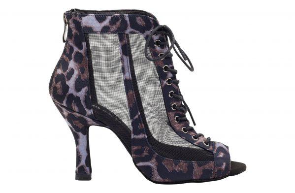 Stivaletto Da Ballo Special Edition In Raso Nero Con Motivo Leopard Black Purple Tacco Cm 8 5 Cm Right