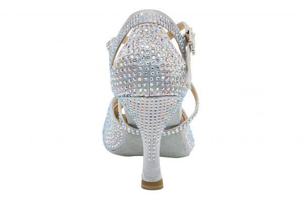 Scarpa Da Ballo In Raso Silver Con Crystal Strass Punta Aperta Tacco 75 Cm Back
