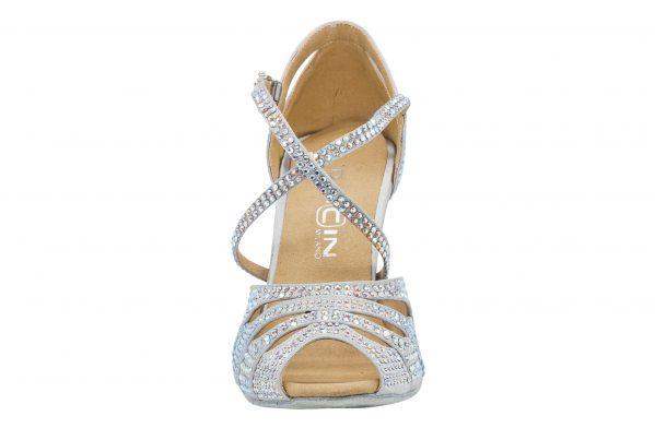Scarpa Da Ballo In Raso Silver Con Crystal Strass Punta Aperta Tacco 75 Cm Front