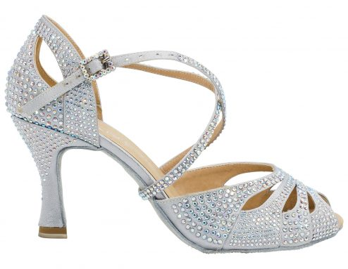 Scarpa Da Ballo In Raso Silver Con Crystal Strass Punta Aperta Tacco 75 Cm Right