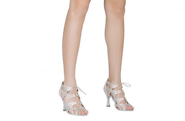 Scarpa Da Ballo Special Edition In Raso Rosa Con Stringa E Cerniera Chrome Tacco Cm 75 Cm Indossato